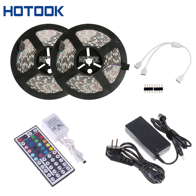 HOTOOK LED Strip 10m 5m waterproof rgb tape lighting 5050 2835 300 leds flexible +44Keys Remote Controller + 12V Power Adapter