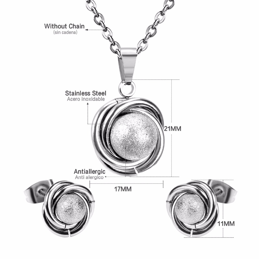 LUXUSTEEL Brinco Earrings For Women Stainless Steel gold Color Surface Ball And Twisted With Free Chain Pendants Necklace
