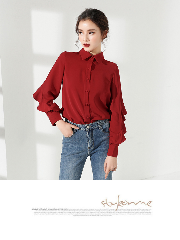 fa13d9fe JLZXSY 2018 Spring Summer Business Women Solid Chiffon Blouse Rolled Fungus Long  Sleeve Career OL Blousees Casual Shirt Tops