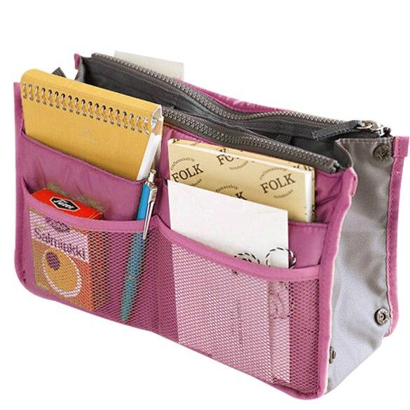 Inside Outside Dual Insert Handbag font b Makeup b font Cosmetic Purse Organizer Bag Pocket
