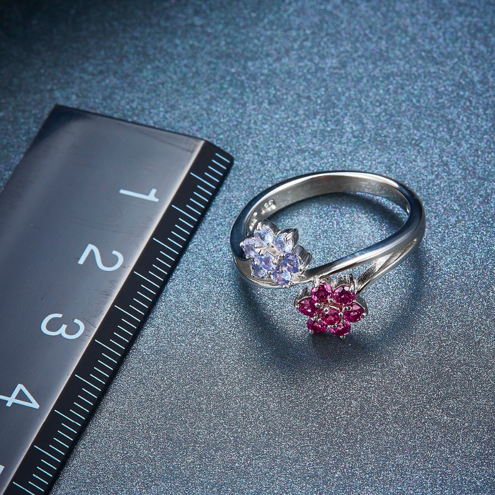 f84dc731a Hutang Natural Gemstone Tanzanite Garnet Wedding Ring Solid 925 Sterling  Silver Flower Gemstone Fine Fashion Stone Jewelry New