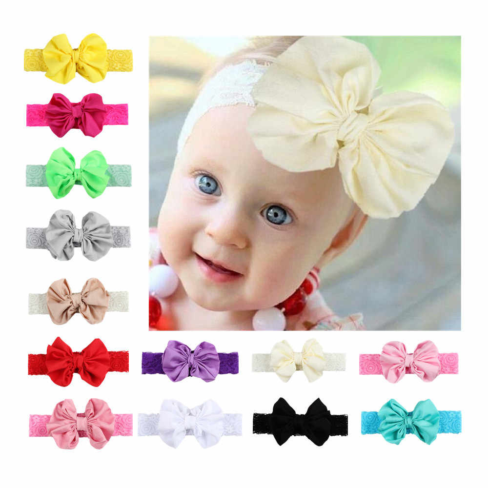 Detail feedback questions about new 1 pcs girls headband newborn beautiful baby girl hairband bow knot lace headband children 5 color hair accessories on