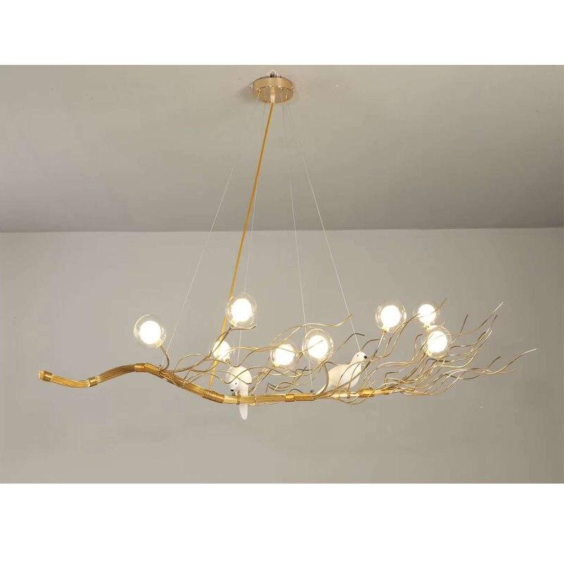 Us 152 87 9 Off Retro Iron Branch Led Pendant Chandeliers Re Dining Room Chandelier Lighting Bird Nest Hanging Lights Fixture In