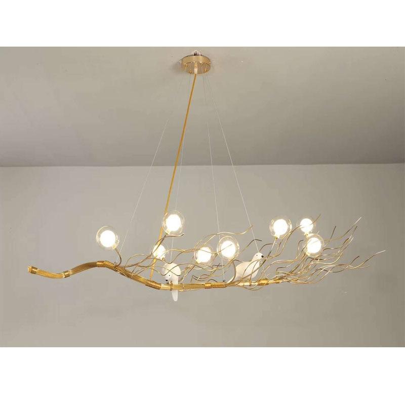 Bird Chandelier Lighting: Retro Iron Branch Led Pendant Chandeliers Lustre Dining
