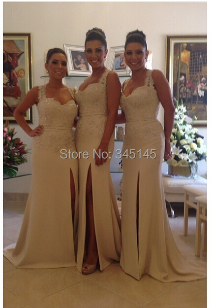 Magically Stylish Lace Appliqued Halter Side Silt Long   Bridesmaid     Dresses   Cheap Sexy Wedding&Party Gowns