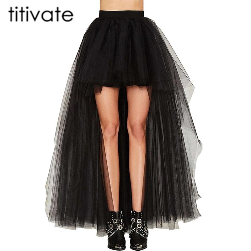 TITIVATE Plus Size 4XL High Waist Floor-Length Skirt Women Irregular Mesh Tutu Skirt 2017 Summer Beach Skirt Ball Gown Ladies