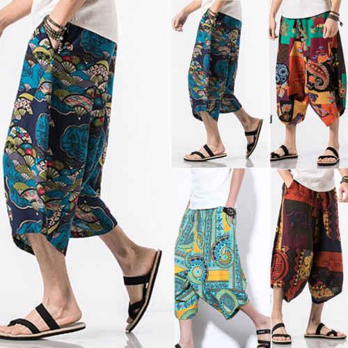 ... 2018 New Harem Pants Trousers Baggy Pants Men Casual Cotton Hippie Boho  Loose Pant Wide Leg ... 63ec4e0f7f78