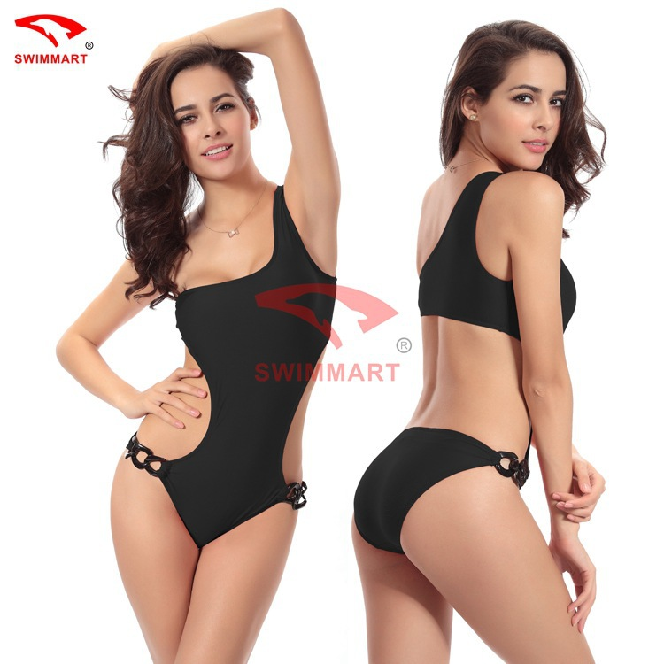 4 Colors Backless One Shoulder Swimwear Six Hoops Adjustable Design High Waist Wetsuit Sexy Women One Piece Beach SwimSuits