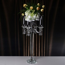 Demountable 5 Head Windproof Candle Holders Crystal Wedding Christmas Decorations Home Centerpieces Candlestick with Bowl