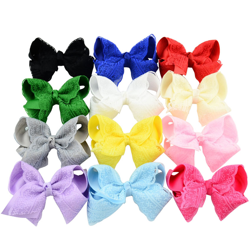 1 Pcs/lot 4 Inch Girl Fashion Boutique Bows with Clip Grosgrain Ribbon Lace Bow Hairpins Kids Hair Accessories 599