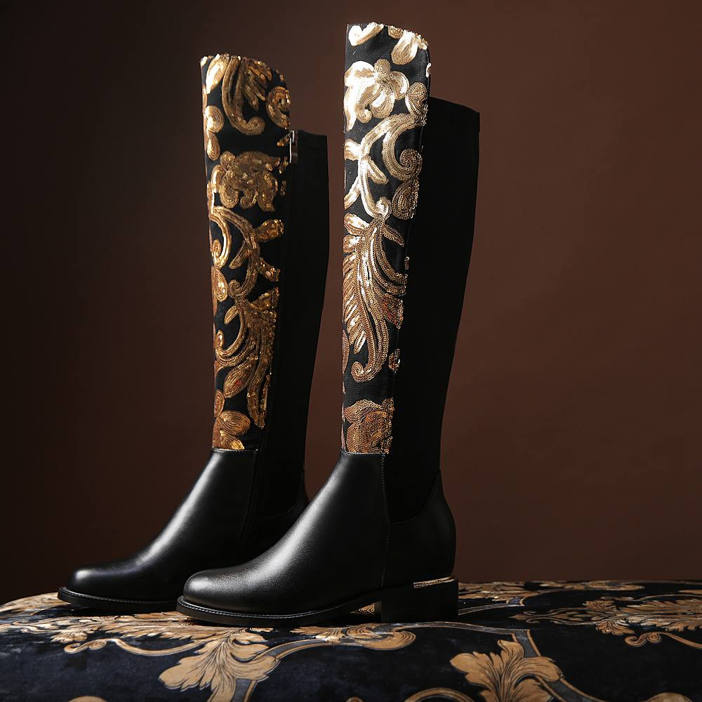 ФОТО New winter shoes large size thick heel brand glitter  women Knee-High boots causal warm low heel real leather sexy fashion boots