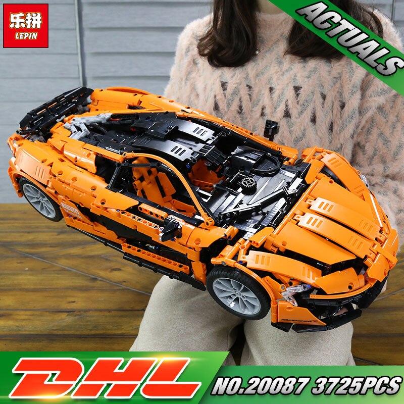 DHL Lepin 20087 Technic Toys The MOC-16915 Arancione Super Auto Da Corsa Set di Blocchi di Costruzione di Mattoni Giocattoli Per Bambini Modello di Auto Di Natale regalo