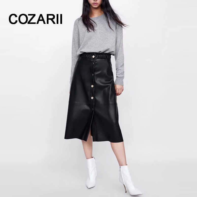 COZARII skirt women skirt harajuku england street faldas mujer moda 2018 solid string selvedge button skirts women plus size