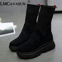 LMCAVASUN Women's Winter Sneakers Women Sock Boots Casual Shoes Woman Ankle Boots Women Plush Rubber Platform Boots chunky Sneak