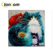 RIHE Colorful Cat Drawing By Numbers DIY Animal Painting Handwork Cuadros Decoracion Oil Art Coloring Home Decor 2018