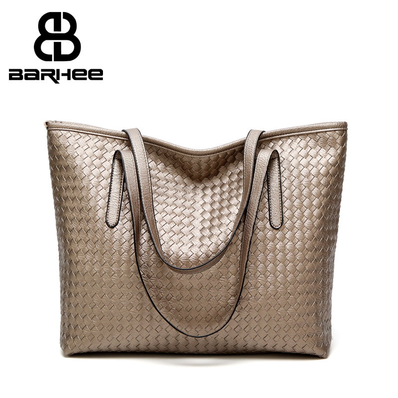 Classic European Fashion Women Large Shoulder Bag Casual Ladies Weave Handbag Black High Quality Brand Design Shopping Work Tote
