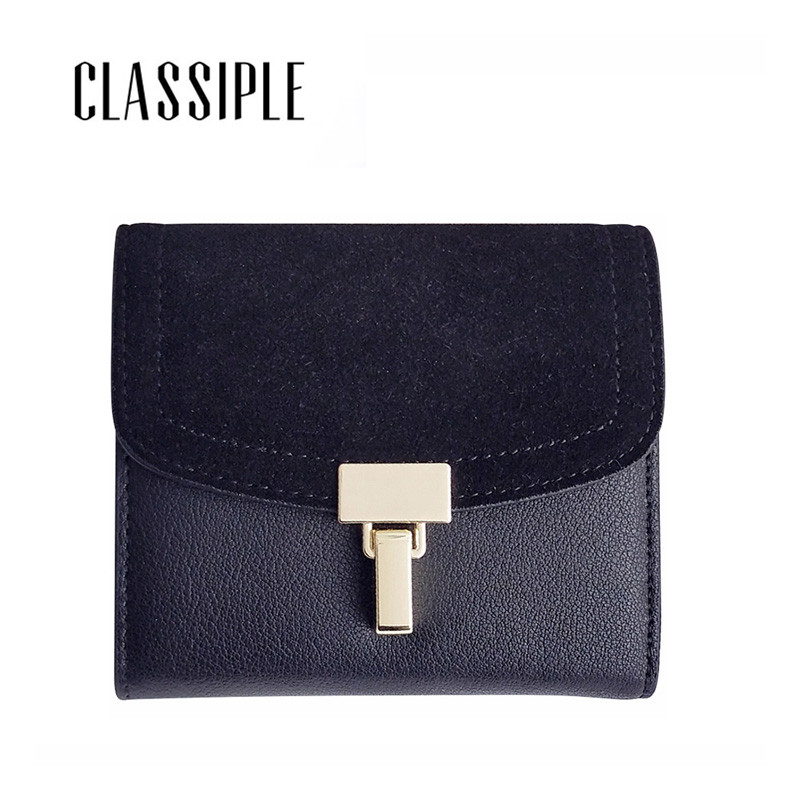 Fashion Women Short Wallet Hasp Split Leather With Nubuck Leather Female Money Coin Purses Holder Lady