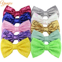 "25pcs/lot 7"" Super Big Glitter Messy Sequin Bows,Bow WITHOUT Hair Clips,For Girls And Kids Headband Hair Accessories(China)"