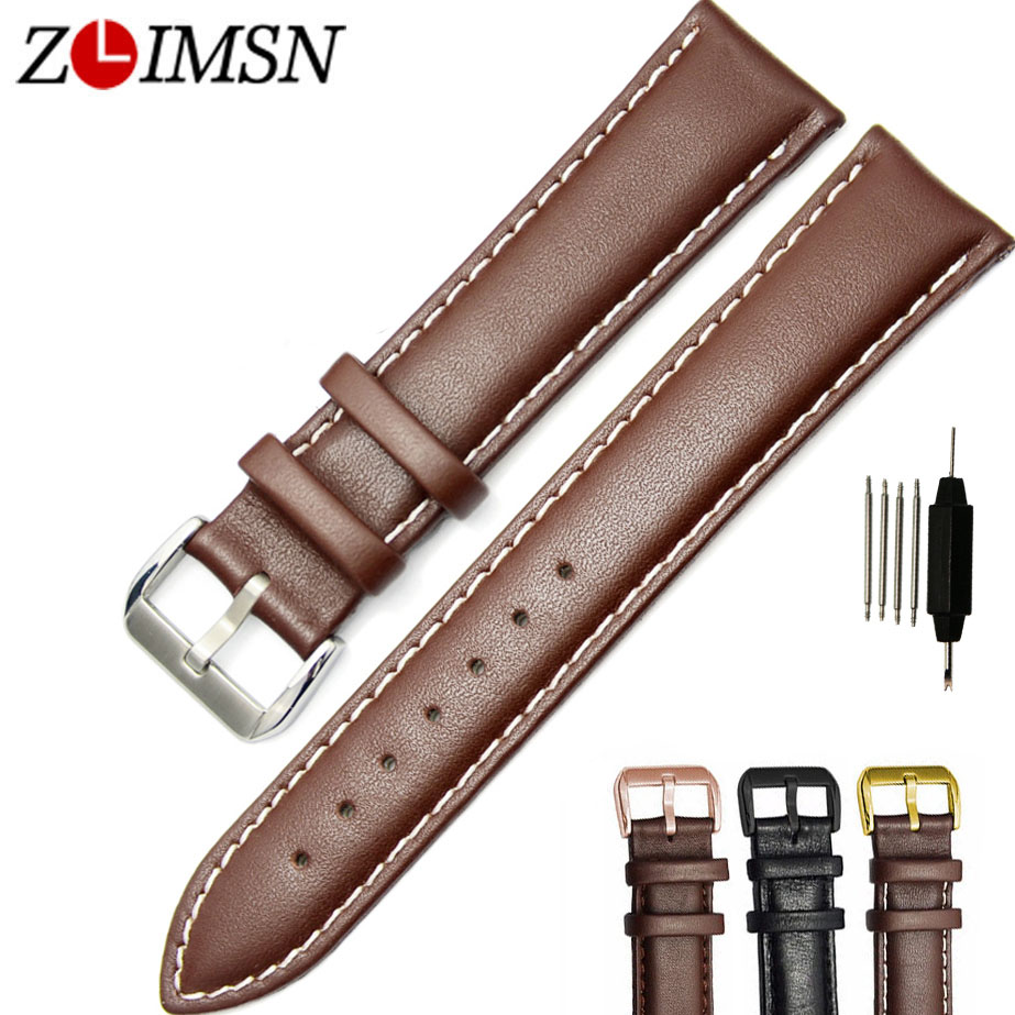ZLIMSN Black Brown Genuine Leather Watch Strap Replacement Smooth Watchband 18 20 22 24mm Stainless Steel Buckle Relojes Hombre watchbands black brown leather watch strap band genuine soft buckle wrist replacement fits mens relojes hombre 2016 18 20mm 26mm