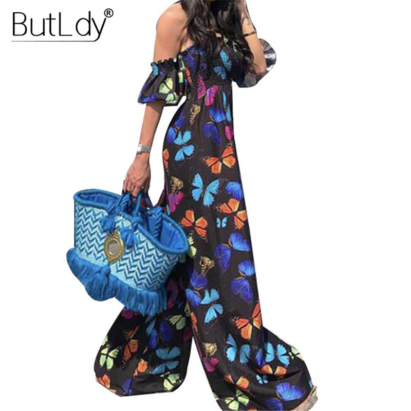 Print Sexy Off Shoulder Jumpsuit Women Strapless Party Wide Leg Jumpsuit Summer Romper 2019 Casual Loose Long Bodysuit Overalls