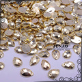 8*12mm 500pcs Gold Color Drop Rhinestones Sew On Flatback Acrylic Strass Crystal and Stones For Clothes Dresses Handicrafts