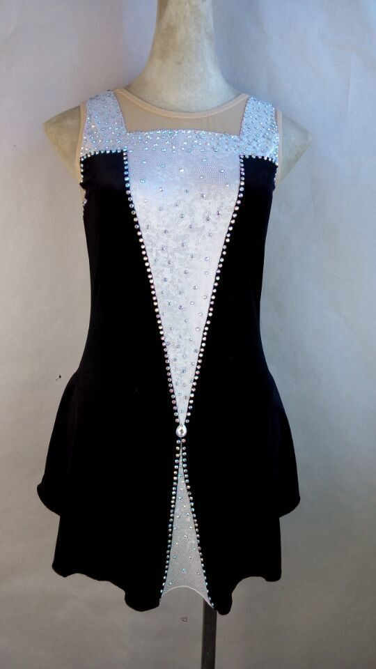 Фигурное катание платье черные женские конкурс на фигурных коньках одежда на заказ Бесплатная доставка катание платья для девочек