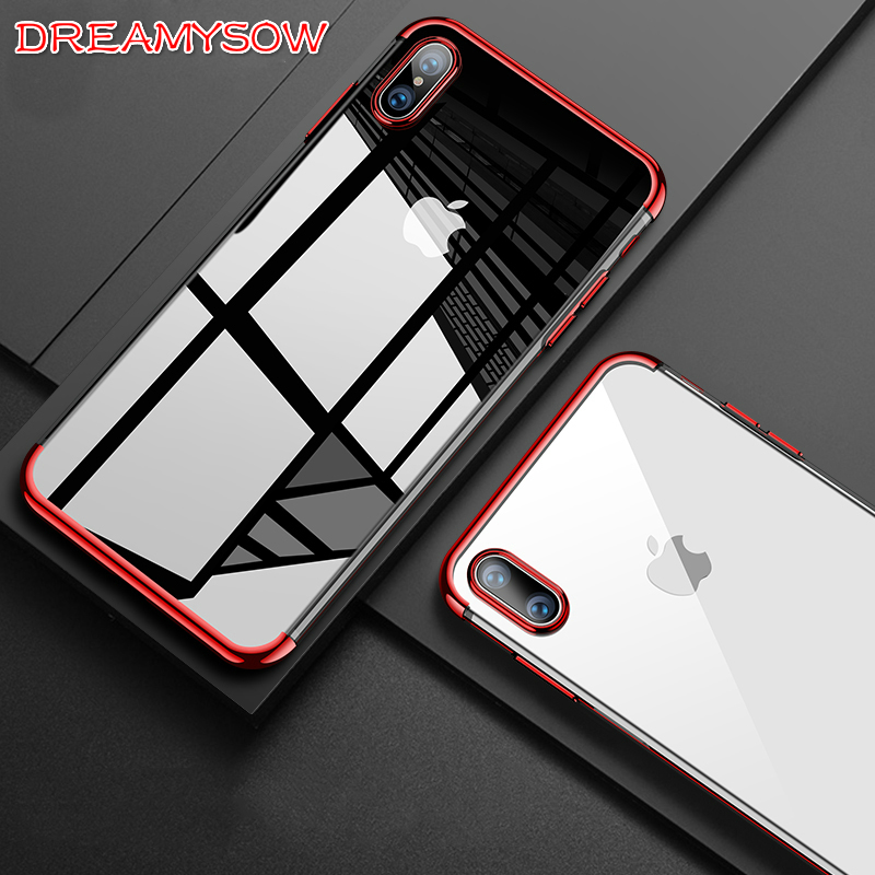 Luxury Plating Phone Case for iPhone XS Max XR X 8 6 6S 7 Plus 5 5S SE Transparent Case Soft TPU Silicon Back Cover for iPhone 8 iPhone XS