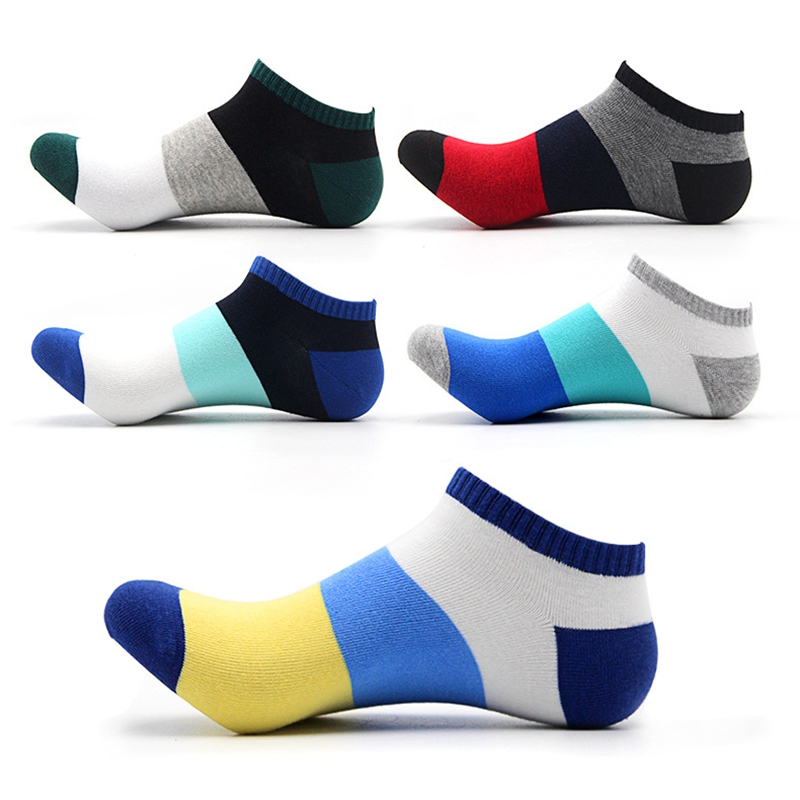 New Arrived 5 Pair/Set Cotton Casual Ankle Socks Men Breathable Sweat Deodorant Colorblock Meia Masculina Invisible Calzini Uomo