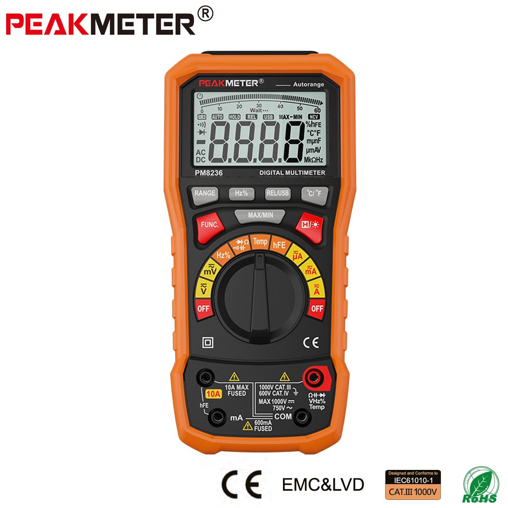 Digital Multimeter Auto Manual Multimetro with T-RMS/USB 1000V Temperature Test and Data Logger Voltage Current tester PM8236 цена
