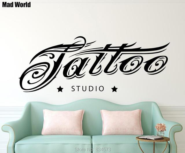 Us 215 Mad świata Tatuaż Studio Piękny Znak Tatuaż Salon Wall Art Naklejki Naklejka Home Decoration Naklejki ścienne Dekoracje Wymienny W Mad