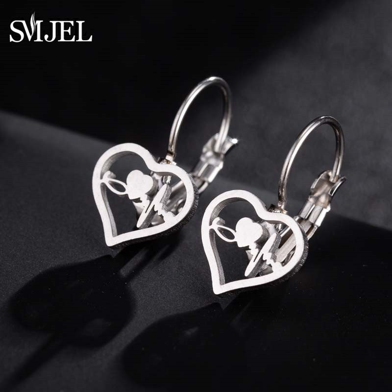 SMJEL Stainless Steel Stethoscope Stud Earrings Women Love Heart Earrings Studs Jewelry Medical Nurse Doctor Lover Gifts