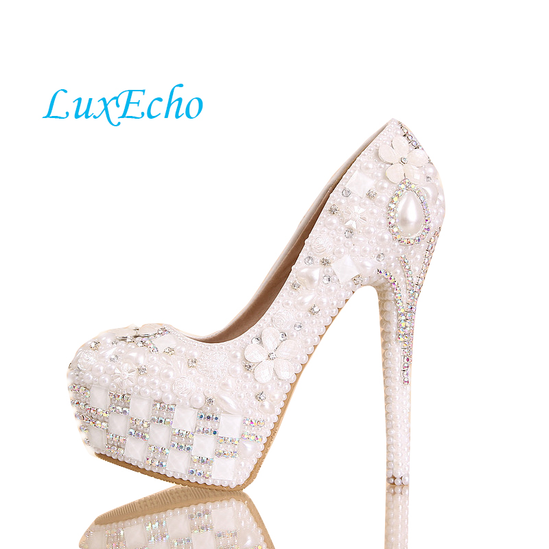 цена на White pearl wedding shoes woman 14cm heel Pure white women's Pumps wedding shoes up heel platform shoes bota fem round toe shoes