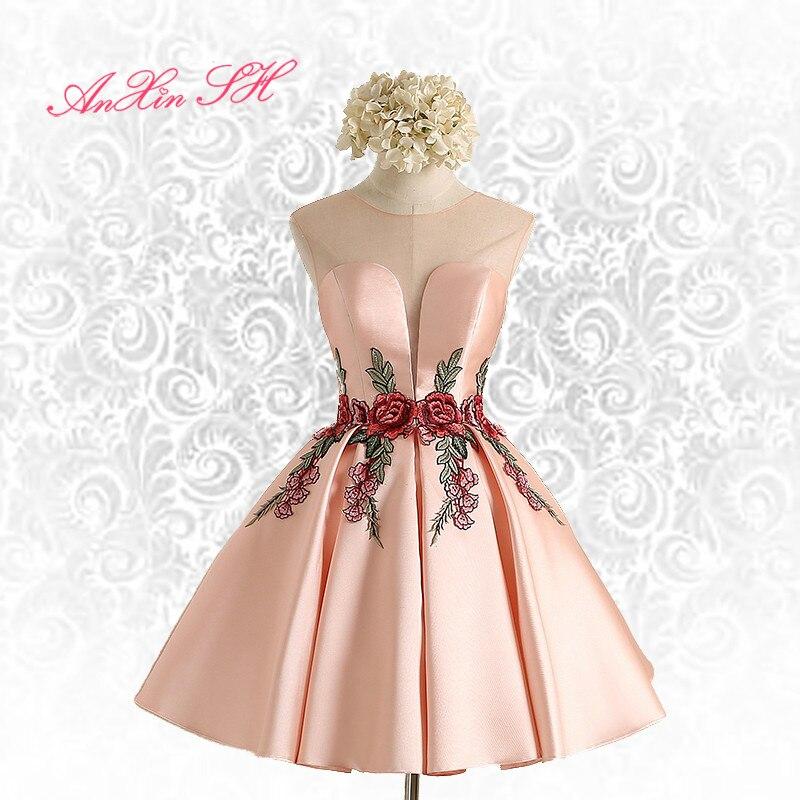AnXin SH pink flower evening dress new Simple flower pink lace Short evening Dresses Sexy Bride Party flower evening dress