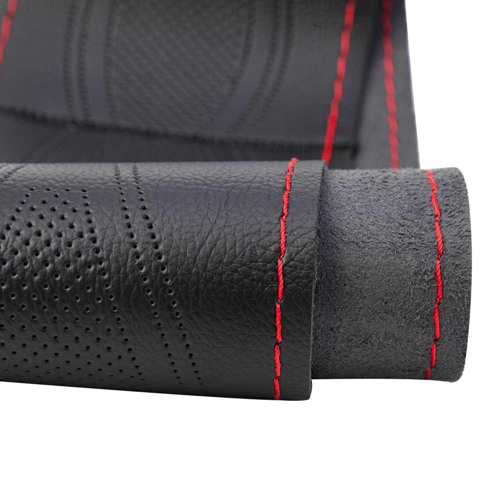 Couverture de volant en cuir microfibre de voiture universel bricolage tresse et aiguilles fil adapté pour 38cm de diamètre couvre-volant de voiture