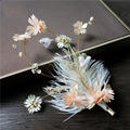 flower vintage gold hairpins crystal hair pins clips hair sticks feather women bridal accessories wedding jewelry for bride T785