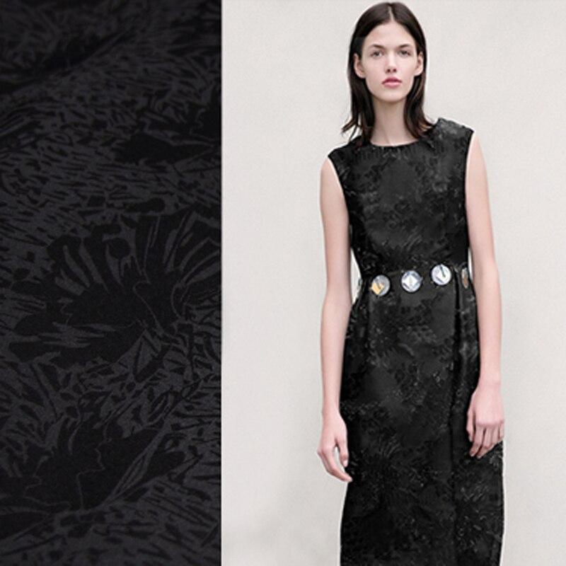 112 CM de large 80 G/M épais noir soie Organza dentelle tissu pour été printemps mariage robe de soirée jupe C014