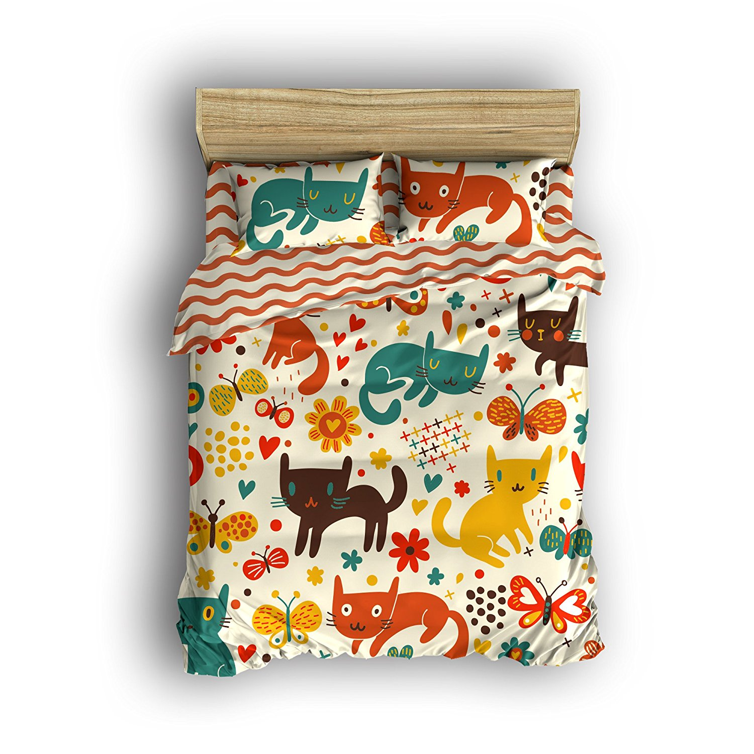 Ensemble De Literie Pleine Taille Cute Cartoon Cats Housse De