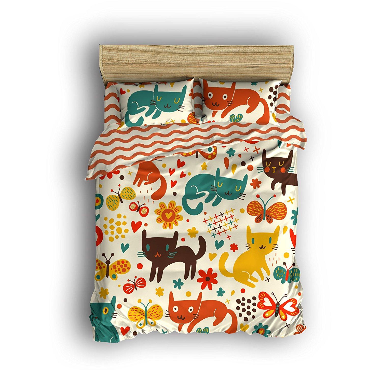 Full Size Bedding Set- Cute Cartoon Cats Duvet Cover Set Bedspread For Children/Kids/Teens/Adults, 4 Piece