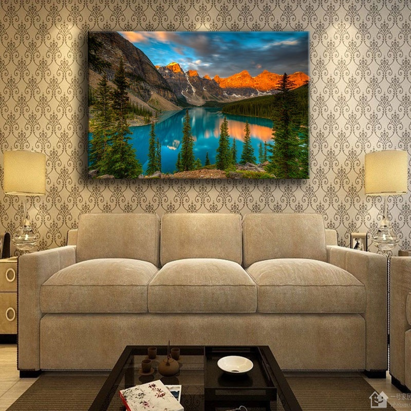 Moraine Lake Mountains Sunset Canvas Print Painting Home Decor Wall Art Picture