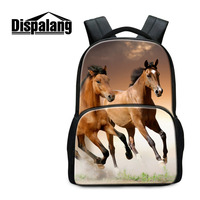 Dispalangラップトップバックパック用男性女性を感じたバックパック馬動物印刷スクールバッグ用十代の大リュックmochilas mujer
