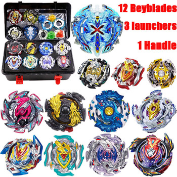 8pcsLuxury Beyblade Set (8 Beys+3 Lauchers+1 Handle+1 Plastic Box+spare Parts)Metal Fusion 4D Spinning Top Toys Gift For Kids beyblade set