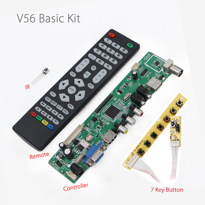 MV56RUU-Z1 V56 Universal LCD TV Controller Driver Board TV/PC/VGA/HDMI/USB Interface USB play Multi-Media with 7key Instead V29