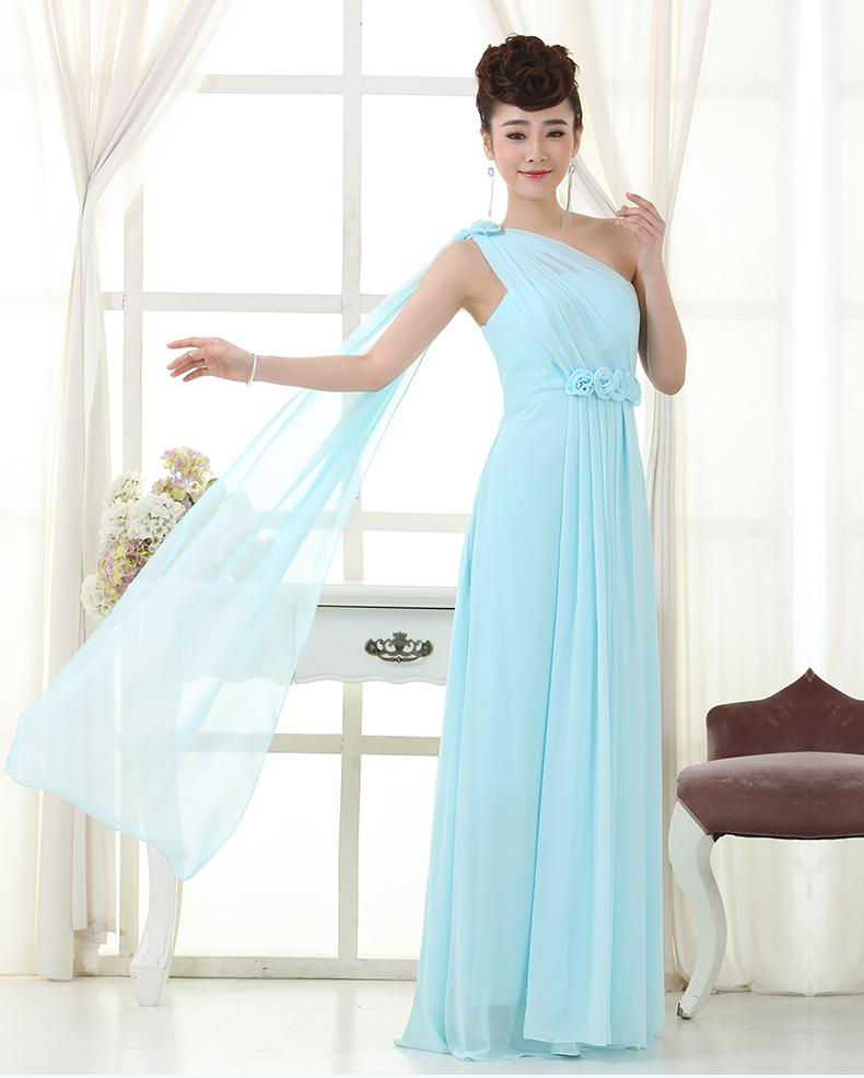 Lange Hellblau Kleid Brautjungfer Kleid Chiffon Formale Kleider Der ...