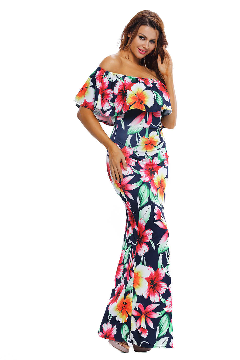 54ccac1685ef9 ... Women Sexy Tropical Roses Print Dress Ruffles Off Shoulder Maxi Dress  Strapless Elegant Summer Beach Dress ...