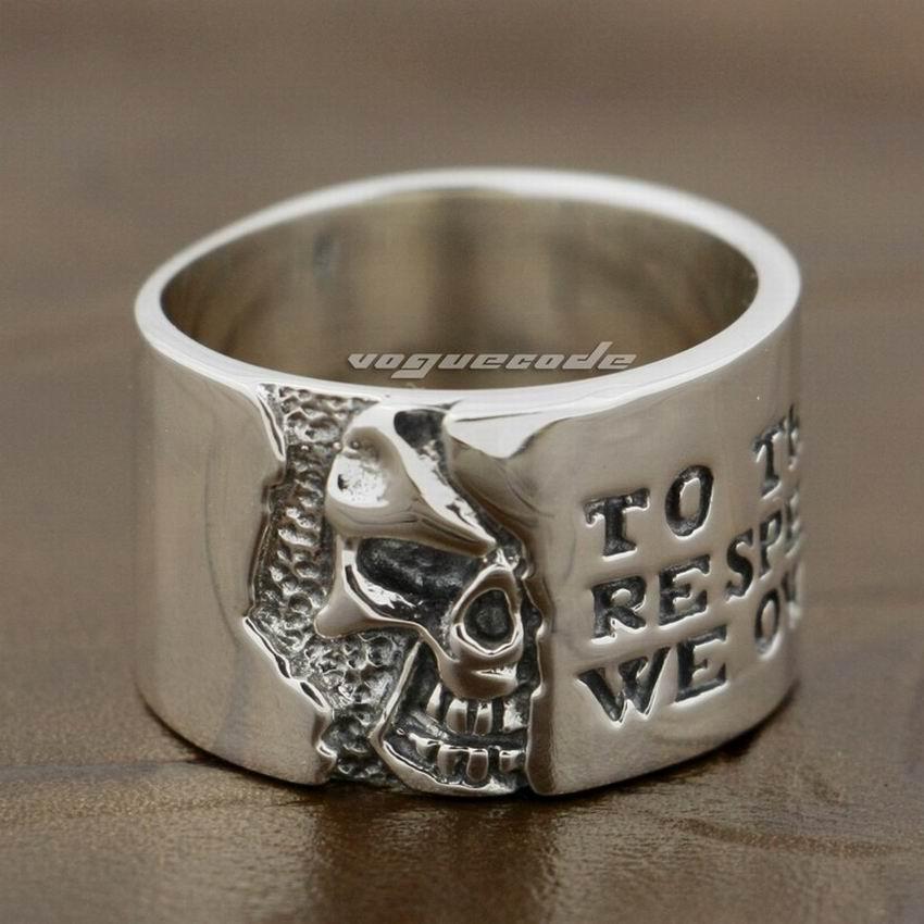 925 Sterling Silver Motto On Wide Skull Mens Boys Biker Rock Punk Ring 8Y006 handmade 925 sterling silver joker skull ring mens biker rock punk ring ta78a