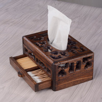 Retro Thailand Original Wood Tissue Box for Home Hotel Decoration