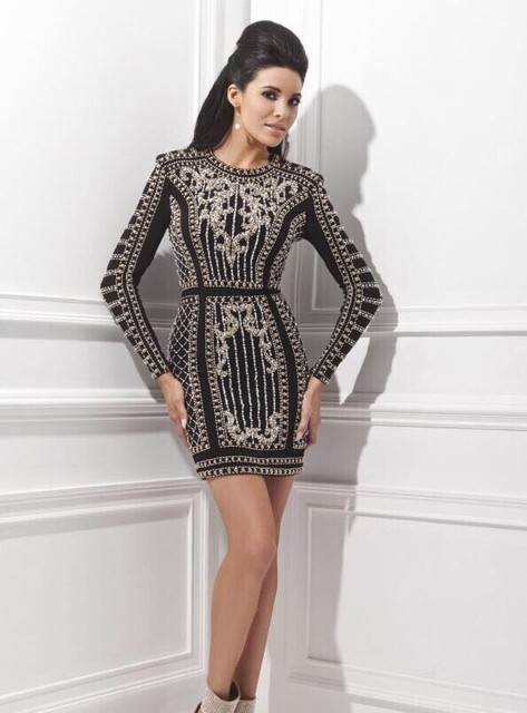 Short Black Long Sleeve Pearls Cocktail Dresses With Beading Crystal Satin Mini Formal Party Dresses Vestidos Cortos Coctail