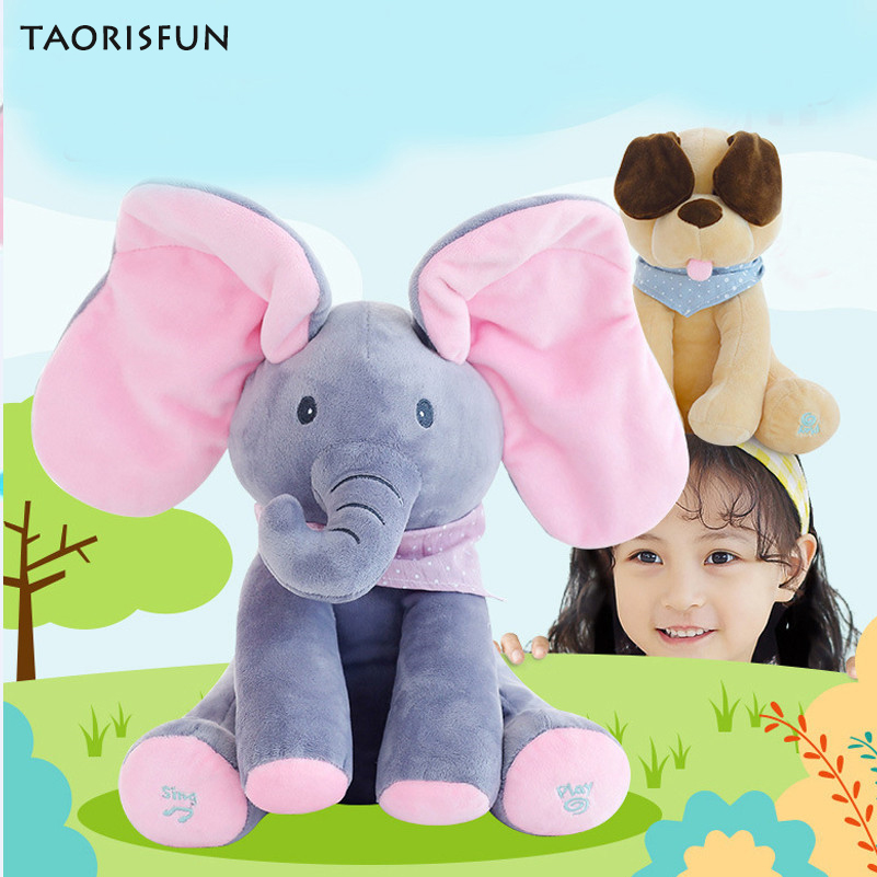 TAORISFUN Filled With PP Cotton Plush Toys Elephant Puppy Toy For Children Hide And Seek Interactive Game Speech Voice Control