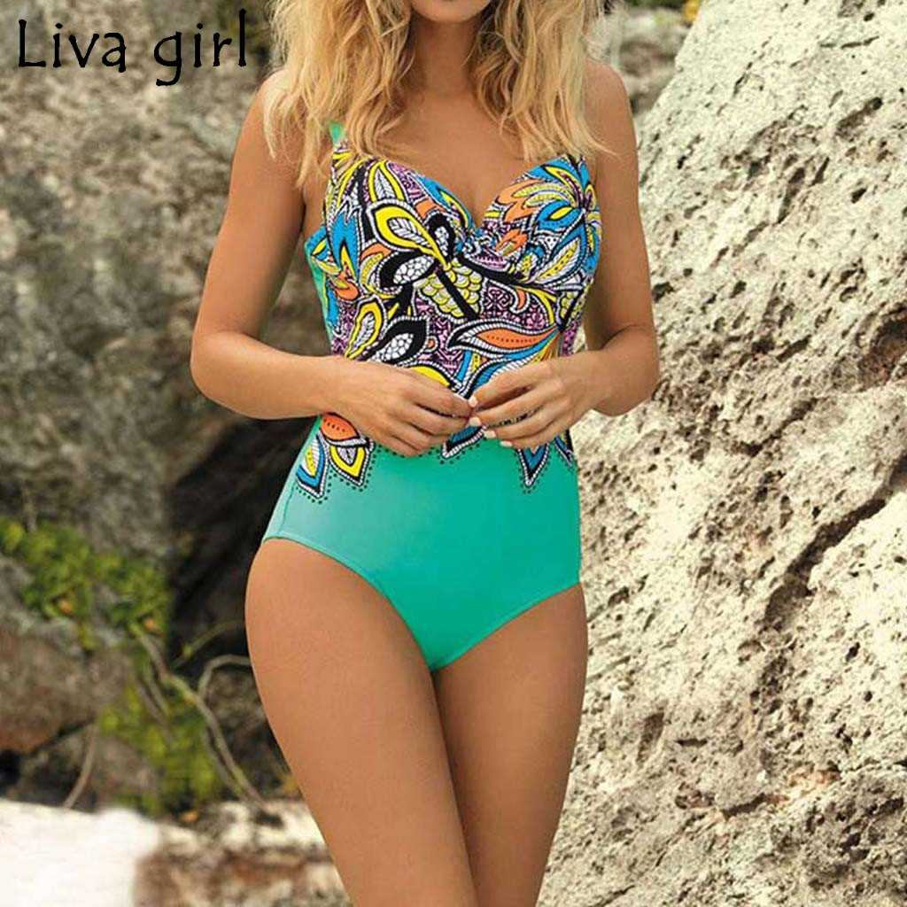 Liva girl Retro Print Women One-Piece Suits new Padded Girls Swim Swimwear 2019 hot Set Beach Tummy Control Swimwear Swimsuit