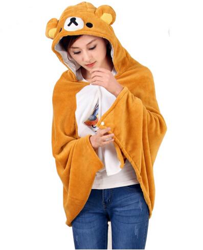 Anime Rilakkuma Urso Cobertor quente Com Capuz Capa Ópera Tippet Pashmina Das Senhoras Bonito Mulheres Cosplay Trajes do Envoltório Do Xaile